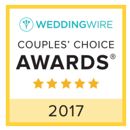 WeddingWire Awards Logo . Square with yellow and white for 2017 with 5 stars