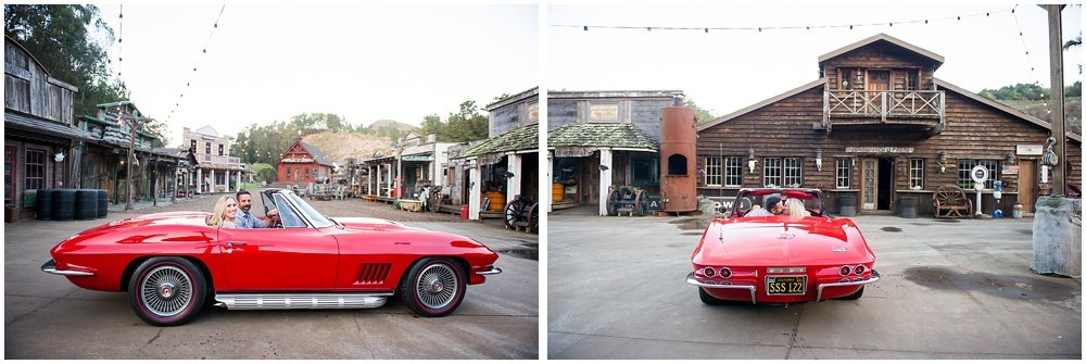classic car red Corvette engagement session kissing