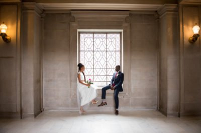 Bride and Groom pose at San Francisco City Hall Small Wedding