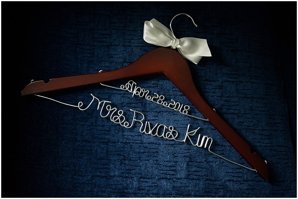 Custom bride coat hanger for Claremont Hotel Wedding