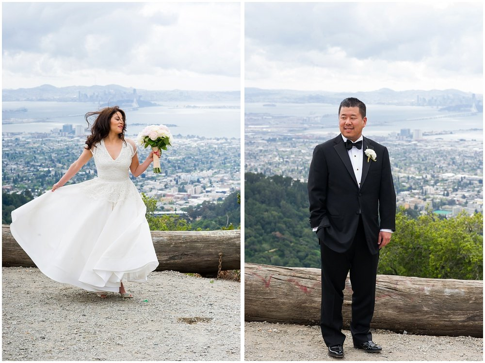 Glamour shots with view of san francisco before Claremont Hotel wedding