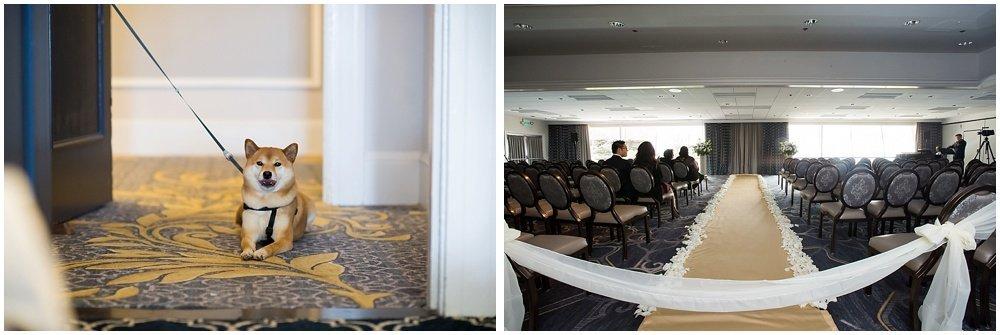 Shiba inu and altar shot at claremont hotel wedding