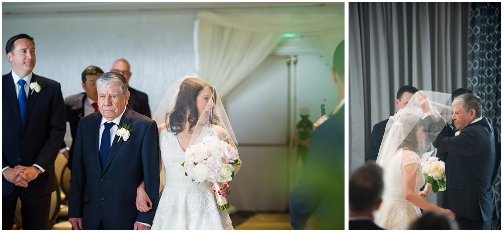Bride gets walked down isle by father at claremont hotel wedding
