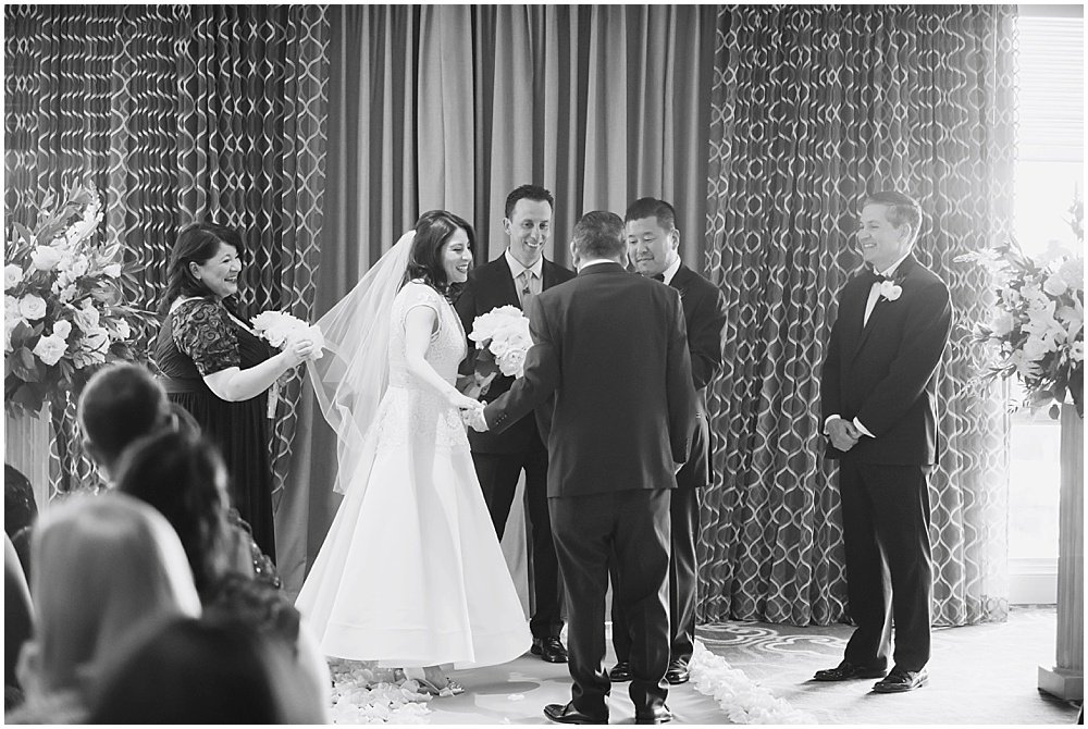 Bride is given away by father at Claremont Hotel Wedding by Chloe Jackman Photography