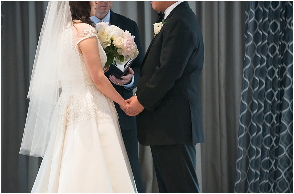 Bride and groom say I do at claremont hotel wedding