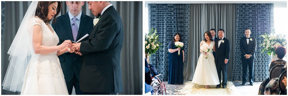 Bride and groom put on rings at claremont hotel wedding