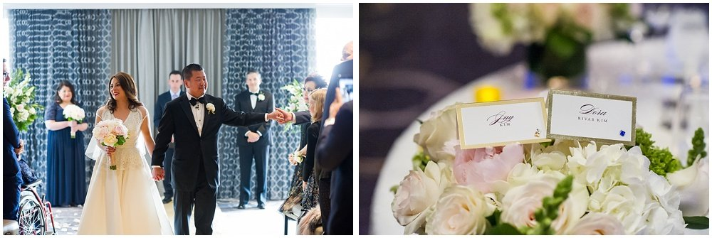 Bride and groom walk down the isle at claremont hotel wedding