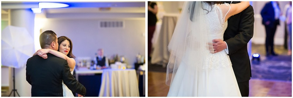 Bride and groom dance at claremont hotel wedding