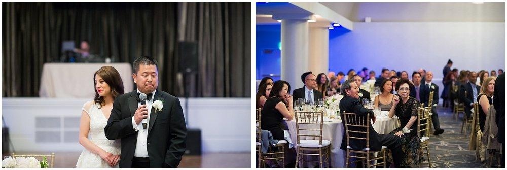 Bride and groom make speech at claremont hotel wedding