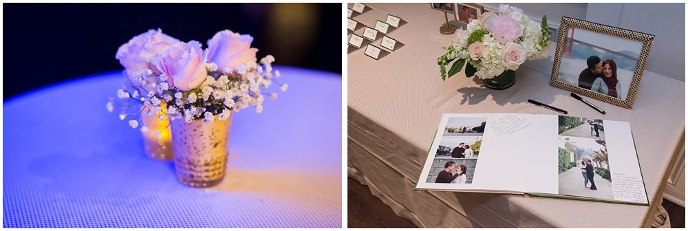Table flower arrangement and a engagement book at claremont hotel wedding
