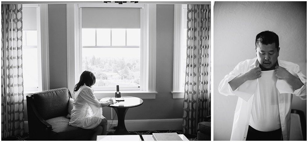 Bride and groom get ready for Claremont Hotel Wedding