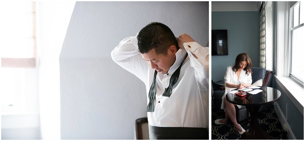 Bride writes vows, groom puts on tie before Claremont Hotel Wedding