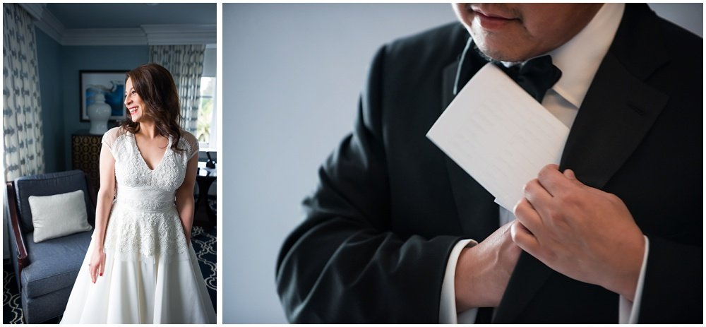 Bride looks excited and groom puts vows in his suit before Claremont Hotel Wedding