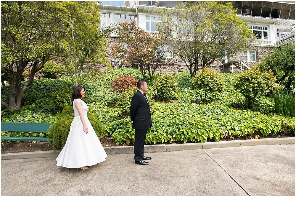Bride and groom first look at claremont hotel wedding by Chloe Jackman Photography
