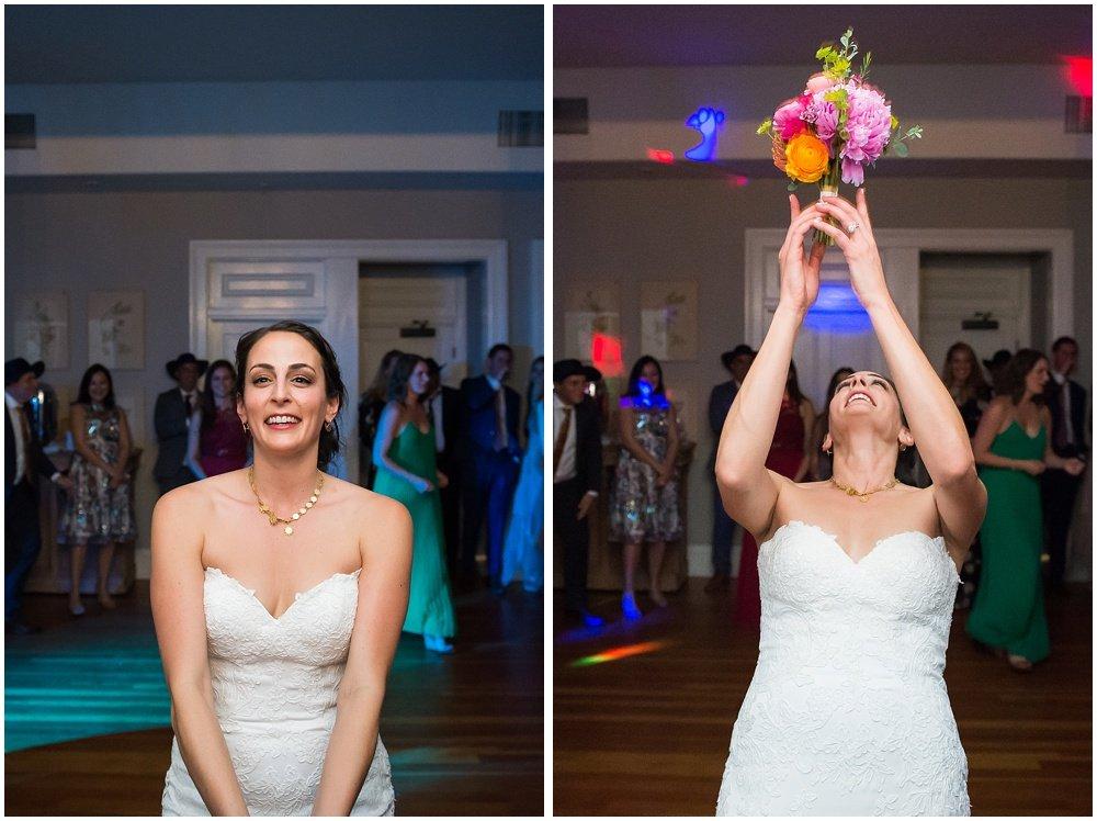 Flower toss at General's Daughter wedding