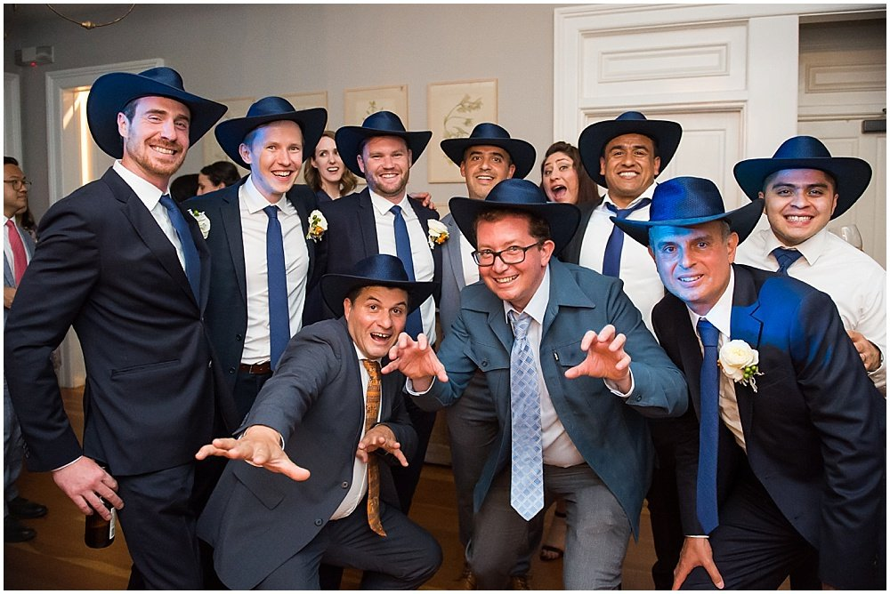 Dudes in cowboy hats at General's Daughter wedding