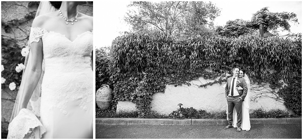 Black and white of bride and groom and ivy leaves at General's Daughter Wedding