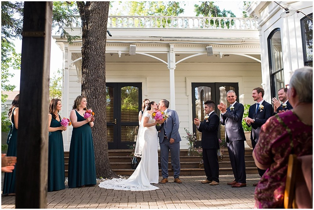 Bride and groom still kissing at General's Daughter Wedding in Sonoma by Chloe Jackman Photography