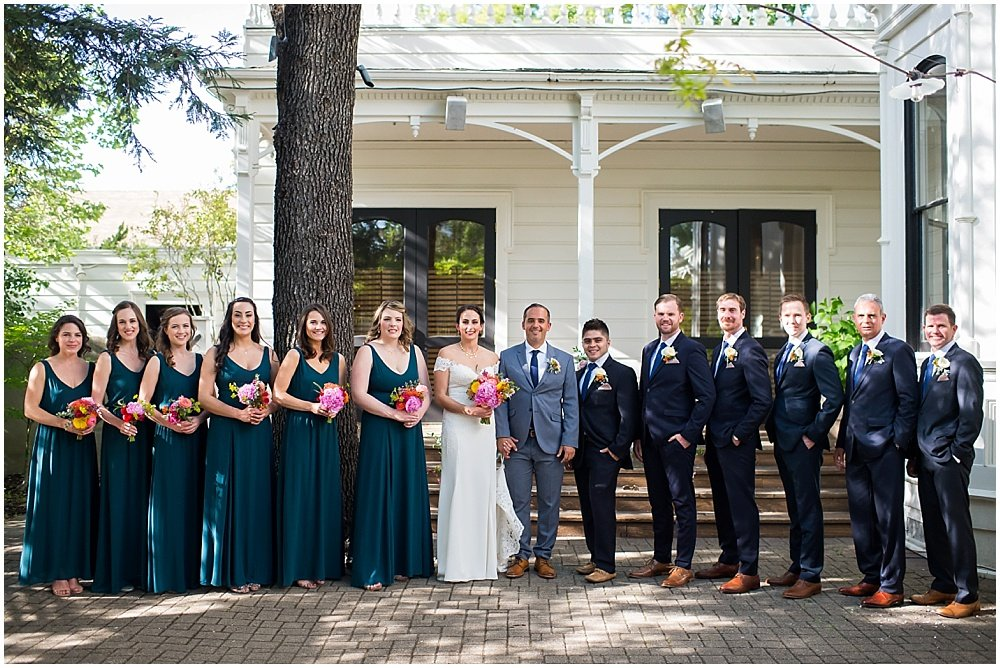 Full wedding party group photo at General's Daughter Wedding in Sonoma by Chloe Jackman photography