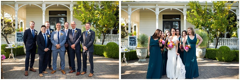 Bride and groom group photos with groomsmen and bridesmaids at General's Daughter Wedding