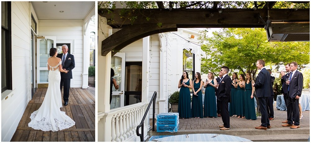 Bride and father meet outside with happy tears at General's Daughter Wedding