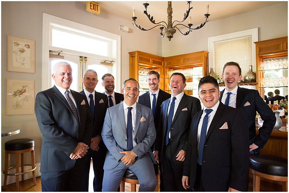 Groom and groomsmen group picture at General's Daughter Wedding by Chloe Jackman Photogrpahy