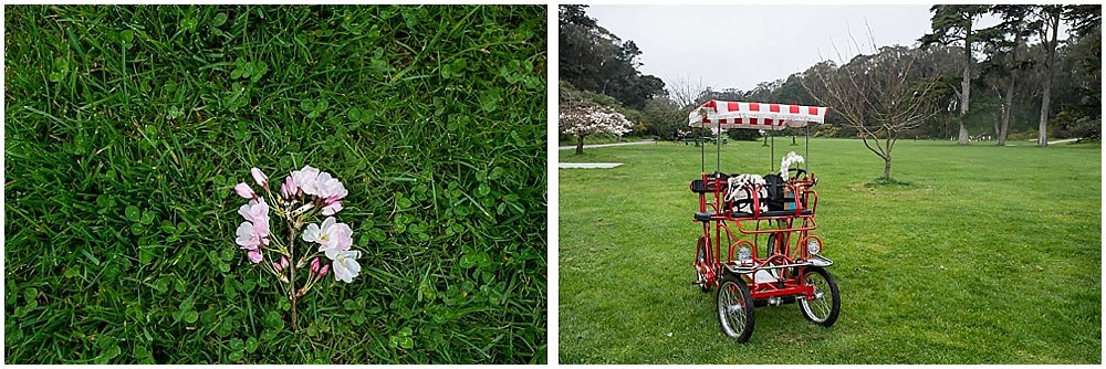 wedding rings on flower and cart with bouquet in it at golden gate park wedding