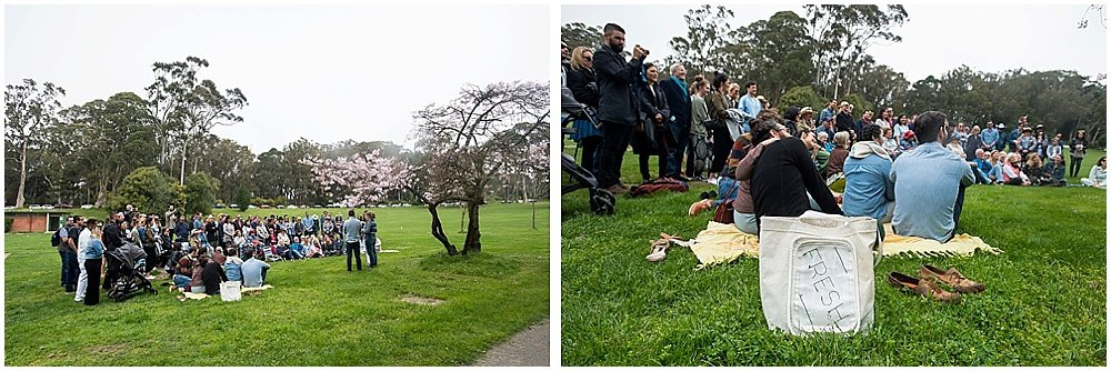 Guests sit and watch ceremony in Golden Gate Park wedding