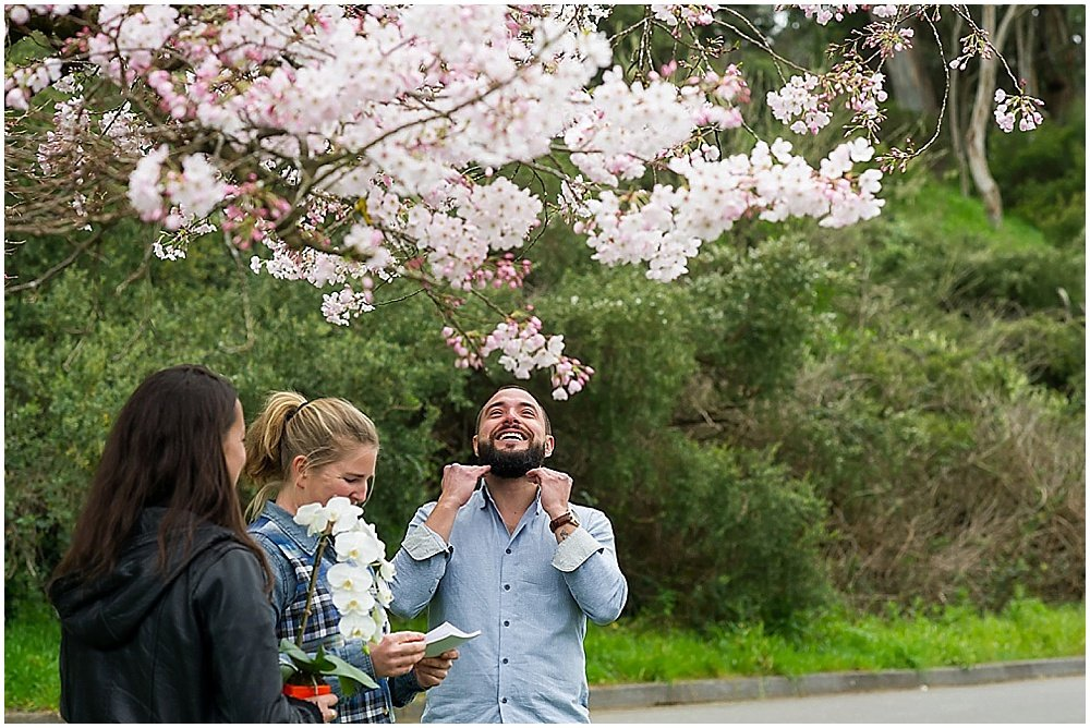 Groom is happy crying at Golden Gate Park wedding
