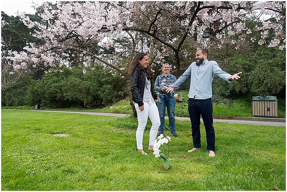 Bride and groom are goofy at golden gate park wedding