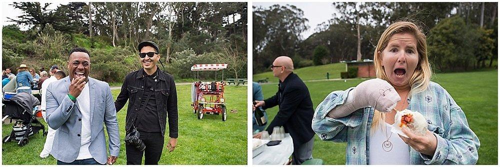 Guests enjoy pork buns and laughter at golden gate park wedding