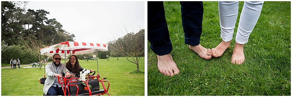 Bride and groom pose on cart and close up of their bare feet touching at golden gate park wedding