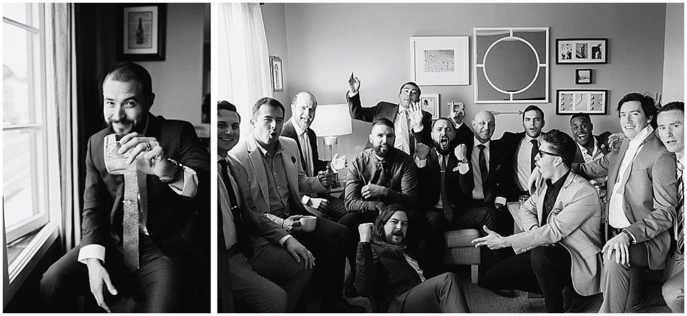 Groomsmen drink before the commissary wedding in san francisco