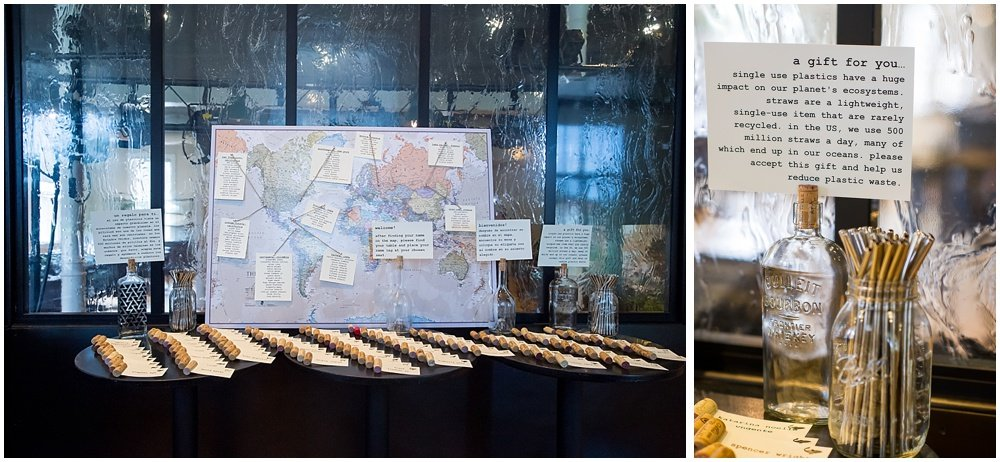 Seat place cards display with travel map and metal straw gift at the commissary wedding in san francisco