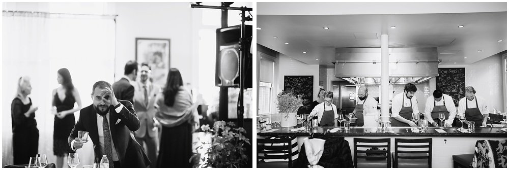 Reception begins with chefs cooking at the commissary wedding in san francisco