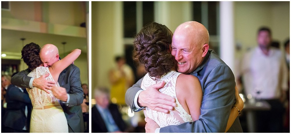 Bride embraces her father at the commissary wedding in san francisco by chloe jackman photography