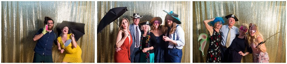 Wedding guests enjoy fun photo booth at the commissary wedding in san francisco