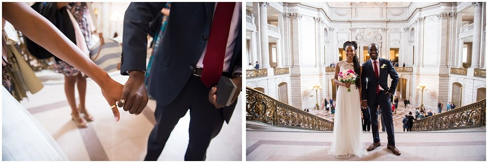 Bride and groom hold hands before San Francisco City Hall Small Wedding ceremony
