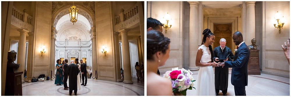 Bride and groom exchange vows at San Francisco City Hall Small Wedding