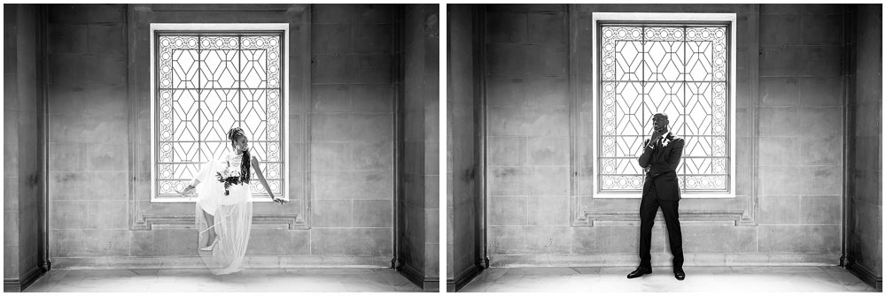 Bride and groom pose solo by square window at San Francisco City Hall Small Wedding by Chloe Jackman photography