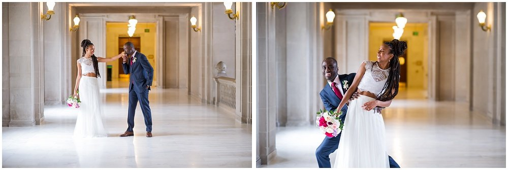 Bride and groom goof off at San Francisco City Hall small wedding