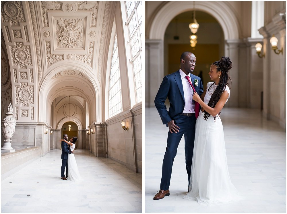 Bride pulls grooms tie at San Francisco City Hall Small Wedding