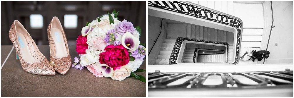 Close up on bride shoes and flowers, and over head staircase shot at San Francisco City Hall Small Wedding