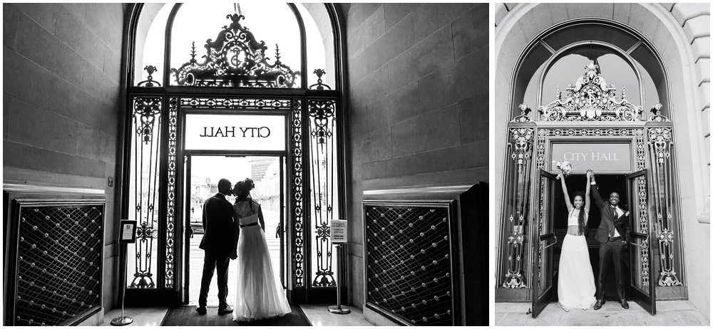 Bride and groom leave at San Francisco City Hall Small Wedding so excited!
