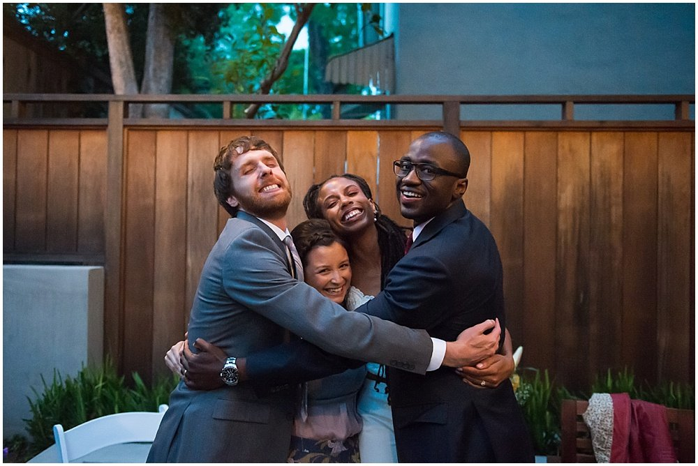 Friend hugs after San Francisco City Hall Small Wedding