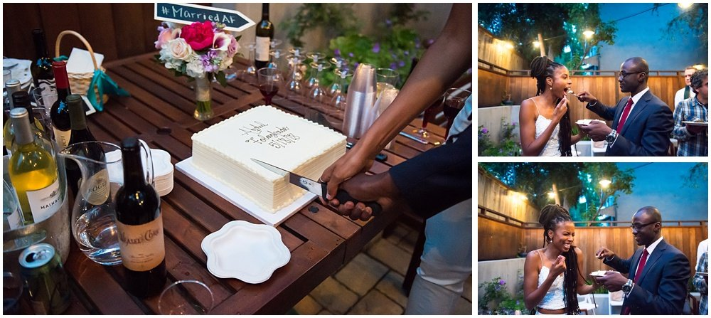 Bride and groom cut the cake after San Francisco City Hall Small Wedding