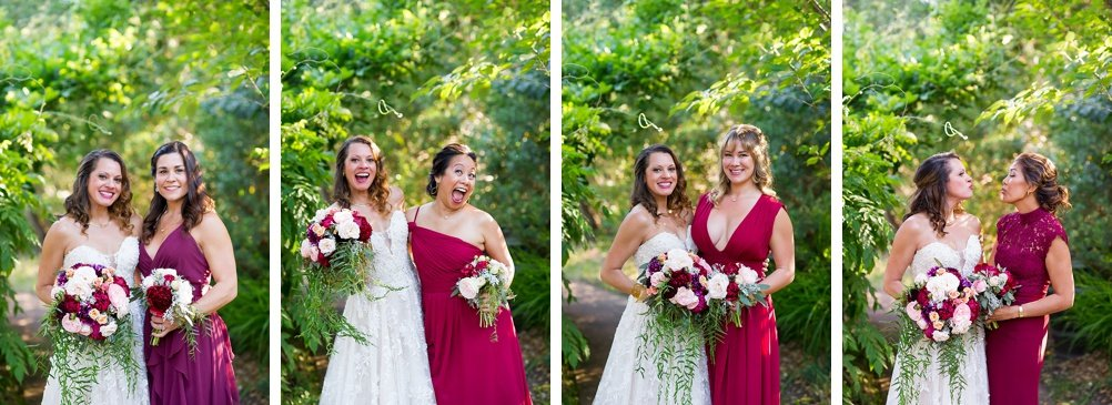 Bridesmaids and bride pose together in individual shots at hans fahden winery wedding by chloe jackman photography
