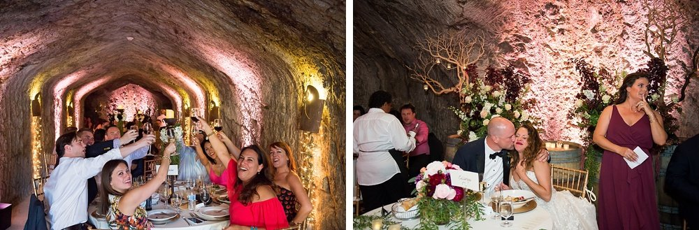 guests toast the bride and groom at hans fahden winery wedding