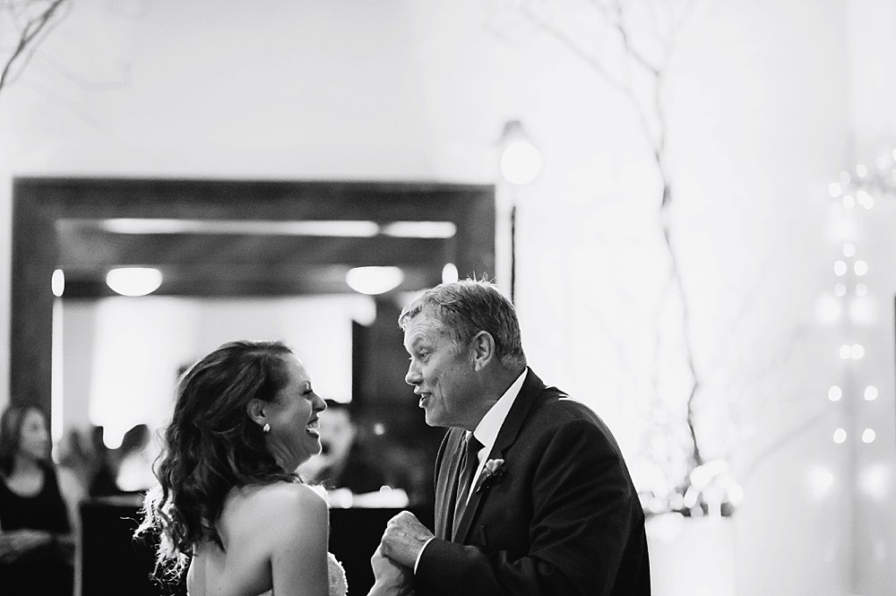 Father of the bride makes the bride laugh at hans fahden winery wedding