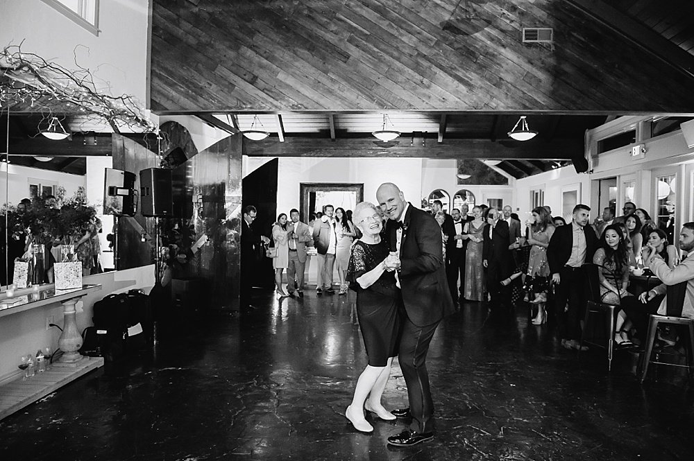 Dancing groom and mother of the groom at hans fahden winery wedding